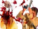 Sticker jesus quintero tronconneuse cerveau violent violence sang gore brice