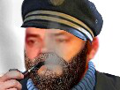 Sticker lorient56 risitas capitaine haddock pipe fumer fumee marin