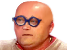 Sticker chauve lunettes jean pierre coffe jpc cancer chimio