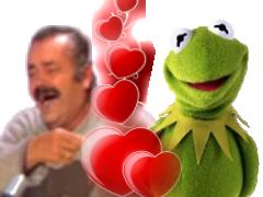 Sticker risitas kermit coeur amour