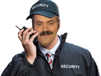Sticker risitas securite security veilleur gardien nuit vigile sourire content