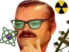 Sticker sans fond ingenieur risitas docteur chimie chimiste atome doute perplexe calcul lunette verre vert
