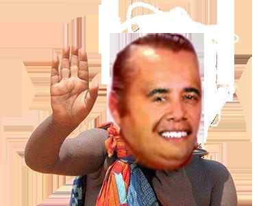 Sticker risitas obama smile renoi sauvage sourire salut