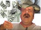 Sticker risitas cowboy us argent dollar fric