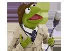 Sticker kermit frog grenouille micro chapeau