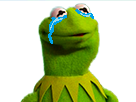 Sticker kermit pleure pleur snif triste grenouille frog sad
