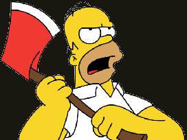 Sticker homer simpson hache attaque