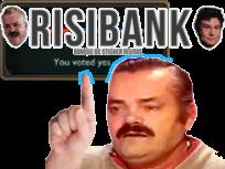 Sticker risitas risibank pointe montre doigt adresse tip aide pub