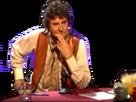 Sticker jesus debat table mains bras songeur pensif