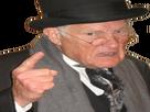 Sticker homme vieux en colere chapeau main doigt