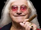 Sticker vieux homme cheveux longs cigare sourire malsain creepy