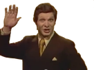 Sticker trololo guy rire aux eclats moquerie qui dit au revoir leve le bras