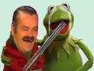 Sticker kermit risitas fusil otage bouche chevrotine pompe