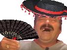 Sticker eventail chapeau espagne fete