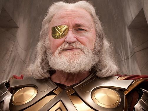 Sticker cheminade odin ovni thor marvel election politique viking scandinave alien borgne hero pere vieux roi