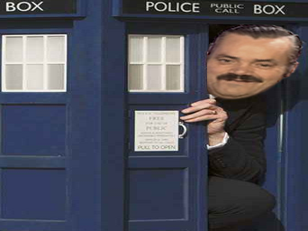 Sticker risitas tardis dotor who sourire police cabine cache telephone porte petit grand box moque voyage temps star espace
