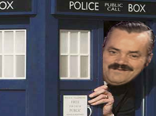Sticker risitas tardis doctor who sourire police cabine cache telephone porte petit grand box moque voyage temps docteur espace