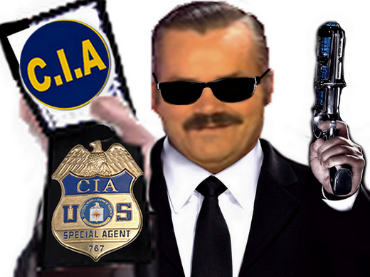 Sticker risitas cia police fbi agent secret policier pistolet arme rire usa americain assassain complot arrestation circulez