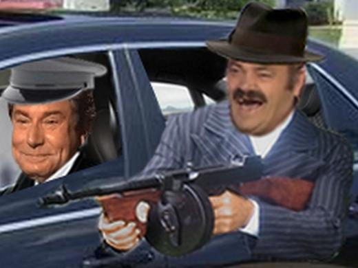 Sticker risitas mafia pistolet rire mitraillette voiture arme police policier cia assassin parrain usa italie fusil combat ddb