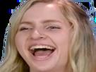 Sticker femme blonde qui rigole moquerie rire