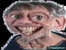 Sticker wtf visage vieux homme deforme grands yeux sourire dent