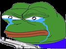 Sticker pepe the frog pleurs larmes triste enerve flingue arme gun pistolet haine