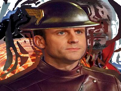 Sticker macron flash marche ministre banquier gauche ps dc comics election course rapide eclair hero courir casque