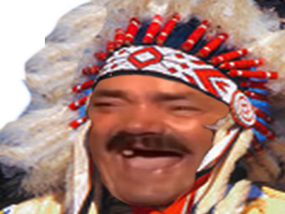 Sticker risitas indien cowboy rire usa western amerindien americain moque rouge fou geronimo
