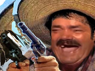 Sticker risitas rire tuco cowboy mexicain clint western pistolet bandit tacos braquage voleur indien arme fusil
