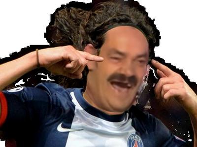 Sticker risitas rire psg coeur cavani fou doigt main but foot football supporter champion ligue dimaria paris rage