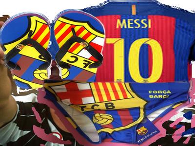 Sticker messi chancla barca fc barcelone foot football tong but banador piscine