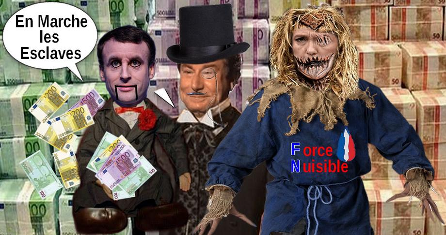 Sticker banquier macron pantin marionnette riche epouventail systeme billet argent marche marine fn poupee ventriloque