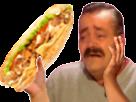 Sticker risitas cimer chef putain ptn merci kebab grec sandwich pain galette bouffe nourriture viande salade tomate oignon pleure main bras emu emotion heureux