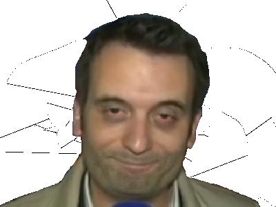 Sticker politic florian philippot fn sourire souris yeux fermer ferme sdf clochard clodo rouge cerne