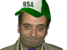 Sticker politic florian philippot rsa casquette fn sourire souris yeux fermer ferme sdf clochard clodo rouge cerne