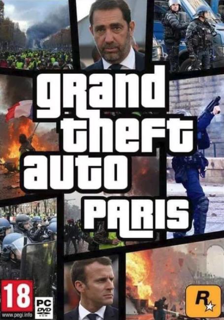 Sticker politic macron politique en marche gta grand theft auto paris gilets gaunes