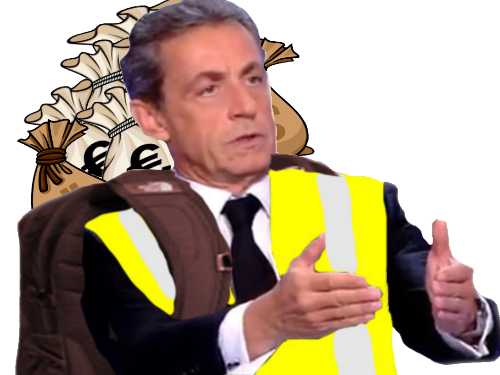 Sticker risitas sarkozy argent gilet jaune