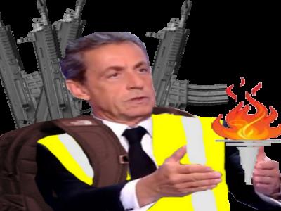 Sticker risitas xavier gilet jaune gj yorarien combo explosion sarkozy torche arme