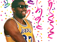 Sticker nba magic lakers lunettes confettis