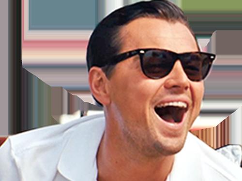 Sticker leonardo di caprio dicaprio rire jpp humilier humiliation lunettes de soleil sunglasses hurle ayaaaa ent 4cdw jfl