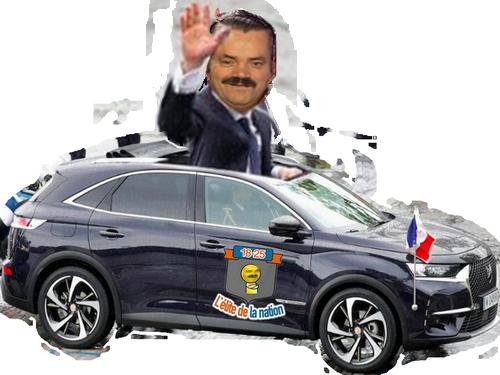 Sticker risitas macron president elite ds voiture parade main salut