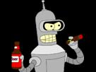 Sticker other bender futurama parle fume cigare biere