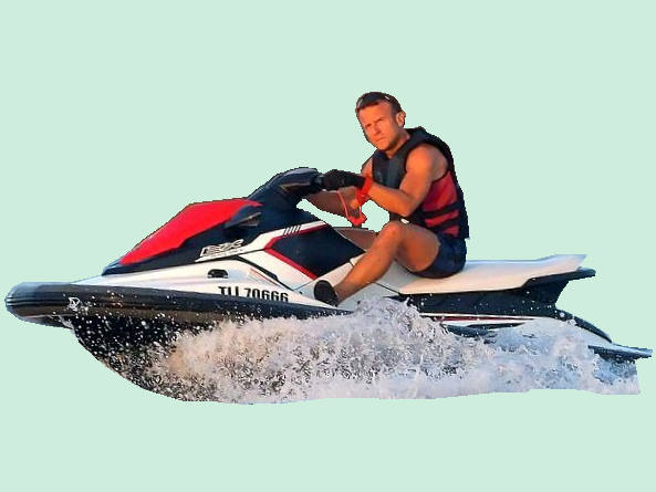 Sticker De Lopez Sur Politic Emmanuel Macron Torse Nu Jet Ski Vacance Ete Bregancon Sticker Id 200677