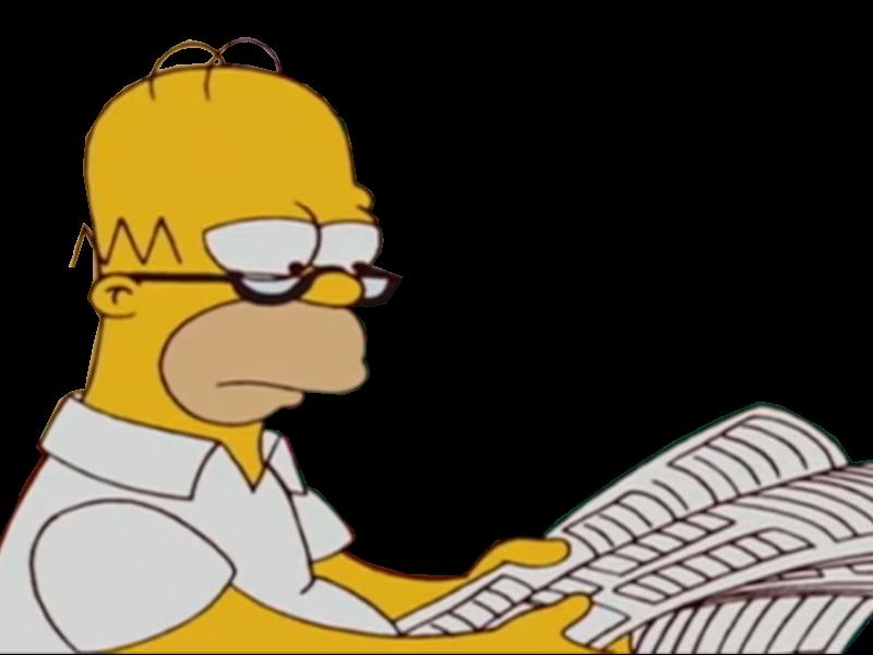 Sticker homer simpson lit son journal en pensant lnorme fiak puant de marge qu il va retourner ce soir