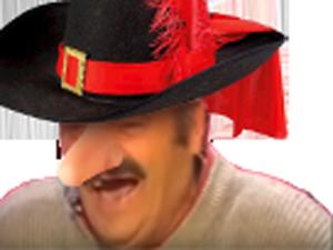 Sticker risitas cyrano bergerac chapeau gros nez rire figma