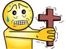 Sticker saumon peur croix satan