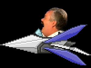 Sticker risitas starfox arwing vaisseau spatial espace hyperspace mercenaires rire rigole mdr profil credit du pixel art a lucarioshirona tinnova