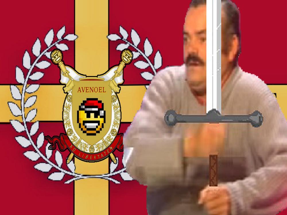 Sticker risitas avenoel guerrier drapeau