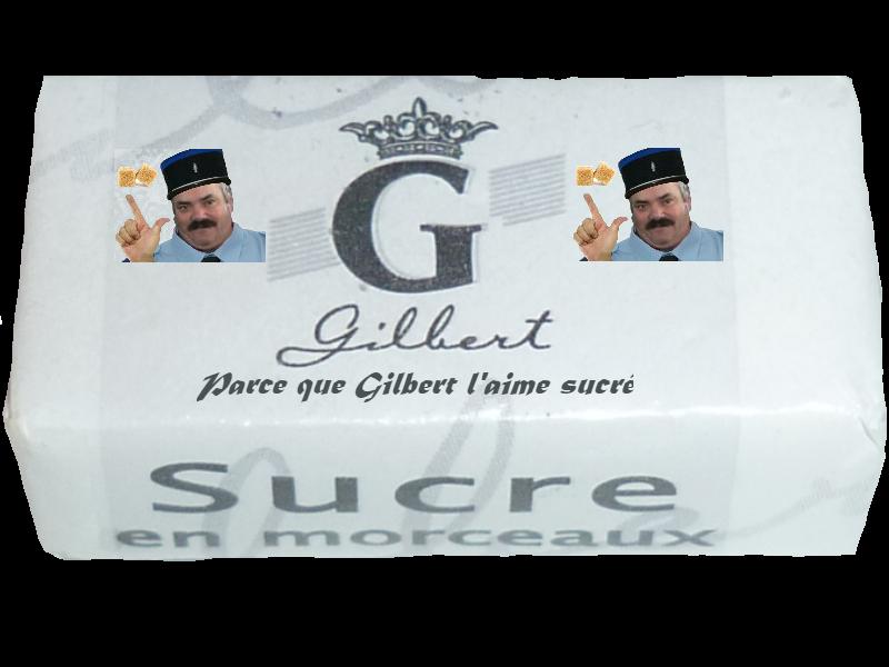 Sticker risitas gilbert sucre deux police celestin