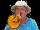 Sticker risitas trompette sonophone haut parleur cri hurle jaune
